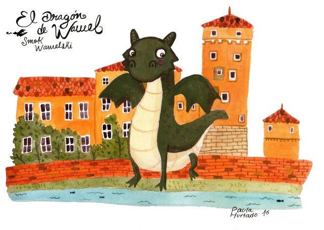 Ilustración de la leyenda del dragón de Wawel. Por mi visita a Cracovia  Paula Hurtado Arenas  #illustration #dragón #dragons #gouache #cracovia #drawing