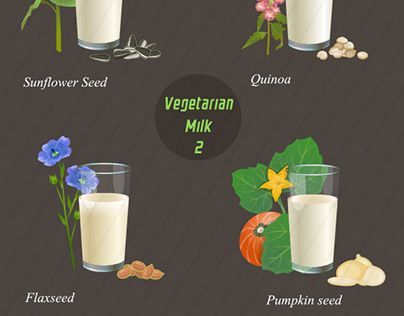 """Check out new work on my @Behance portfolio: """"Types of vegetarian milk"""" http://be.net/gallery/53466417/Types-of-vegetarian-milk"""