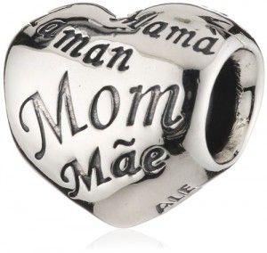 Ciondolo da donna Pandora, in Argento 925, il più venduto, con la raffigurazione della scritta Mamma, in tutte le lingue.