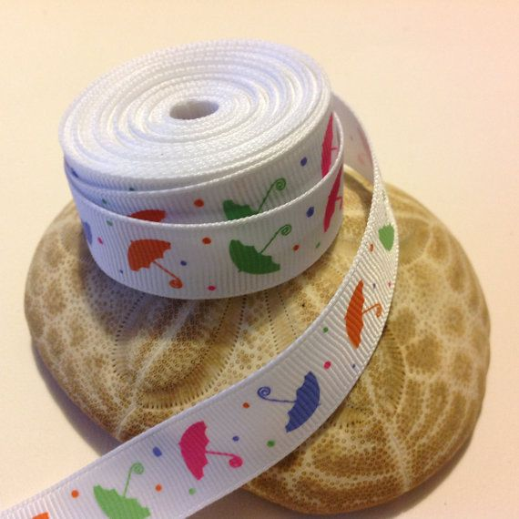"""5 Yards of 5/8"""" Grosgrain Ribbon, White with Umbrella Pattern $4.75"""