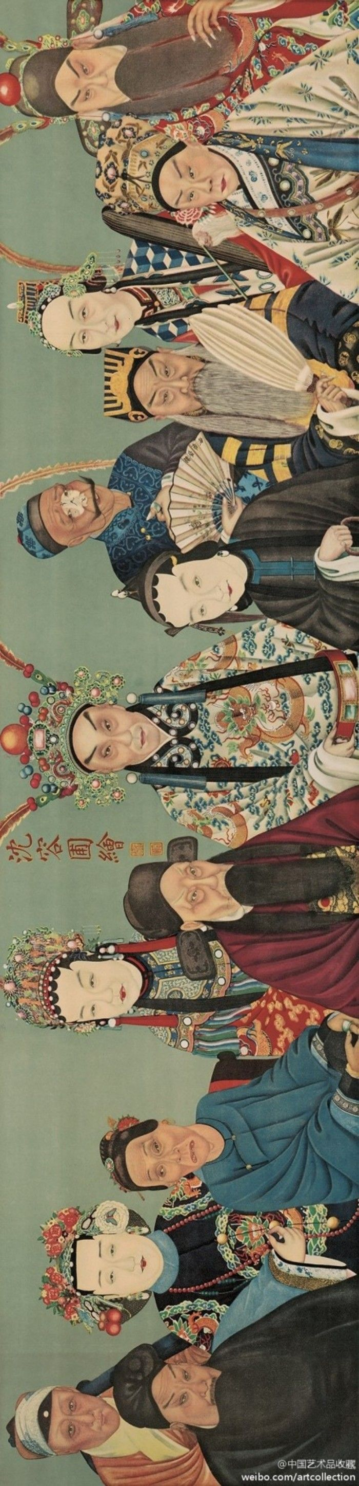 #人物画#【 清 沈容圃 《同光名伶十三绝》 】卷,绢本设色,25.7×105.3cm,中国艺术博物馆藏。 绘制于清光绪年间,属工笔写生戏画像,该画作参照清代中期画家贺世魁所绘《京腔十三绝》中的戏曲人物,用工笔重彩绘制而成。画中人物为清代同治、光绪年间徽调、昆腔的徽班进京后扬名的13位著名京剧演员。所绘人物形态自然,各具表情,衣帽须眉,真实细腻。前排右起依次为:谭鑫培、卢胜奎、时小福,前排左起依次为:张二奎、刘赶三、程长庚,中间一位为徐小香。后排右起依次为:杨月楼、朱莲芬、杨鸣玉,后排左起依次为:郝兰田、梅巧玲、余紫云。