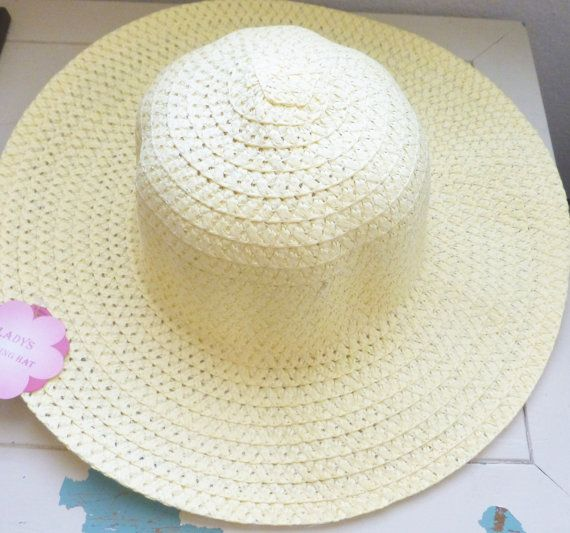 Gardening hat for crafts yellow hat paper hat standard size women's hat new with tags craft hat crafting wall hanging hat gardening by SixthandDurianSupply