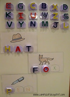 This is a neat idea to make for Caleb when he gets older. Those letters are from the refrigerator phonics (Leap Frog).