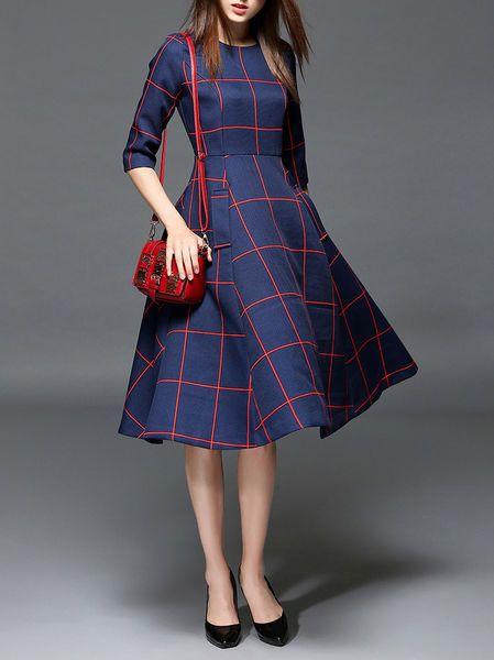 Pockets Color Block Midi Dress EWHEAT   StyleWE