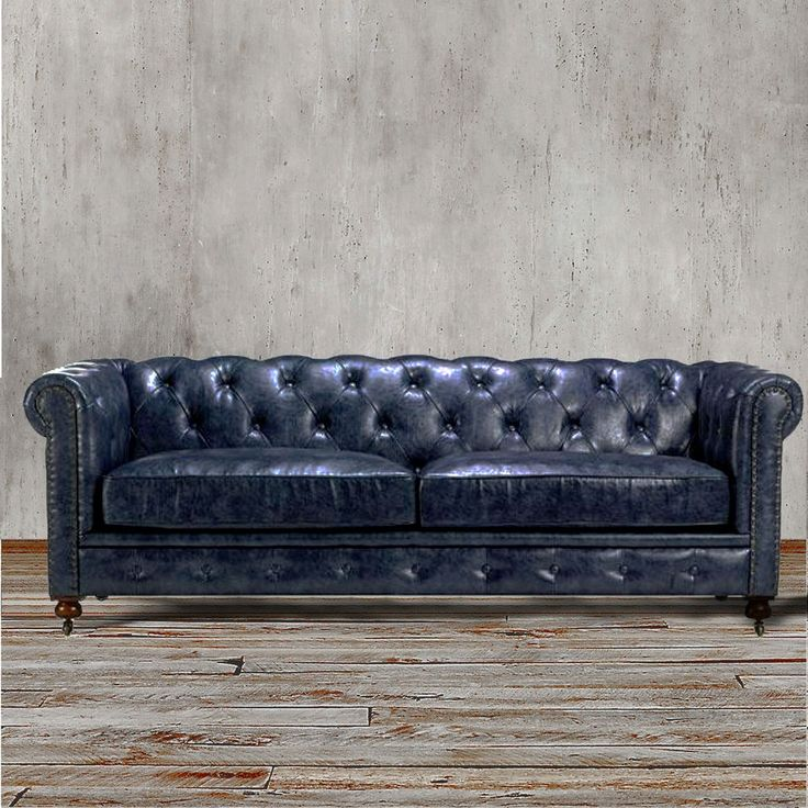 Navy Blue Leather Chesterfield Sofa