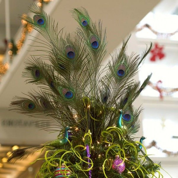 Martha Stewart Christmas Tree Topper: Peacock Feather Tree Topper.