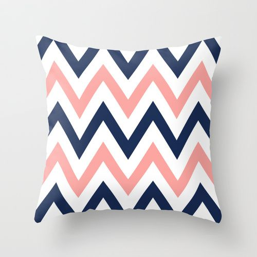 Coral & Navy Chevron Throw Pillow for the sunroom