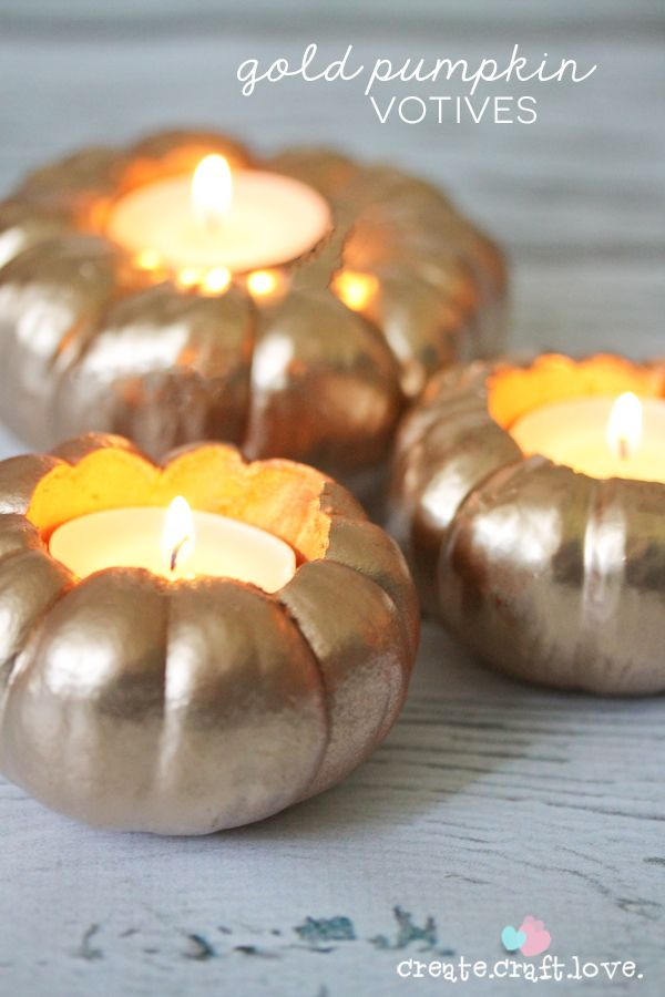 It's never too early to start planning your DIY fall decor! Create these Gold Pumpkin Votives for your Halloween or Thanksgiving dinner table. This easy craft project is also perfect for any fall party. Click to check out the step-by-step instructions to complete this project.