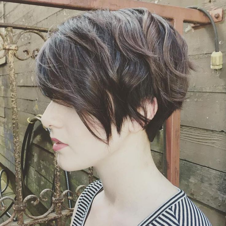 Pixie Cut; sides parallel with jawline, no stacking (not a full cut), blended layers; blend back into neckline & shortest back layer no shorter than occipital bone