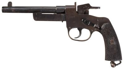 Mauser C77 pistol    Designed and Manufactured by Paul Mauser c.1876-77 in Oberndorf am Neckar, Germany - serial number 115.  10,6x25mmR single shot falling block, manual thumb safety, single action.