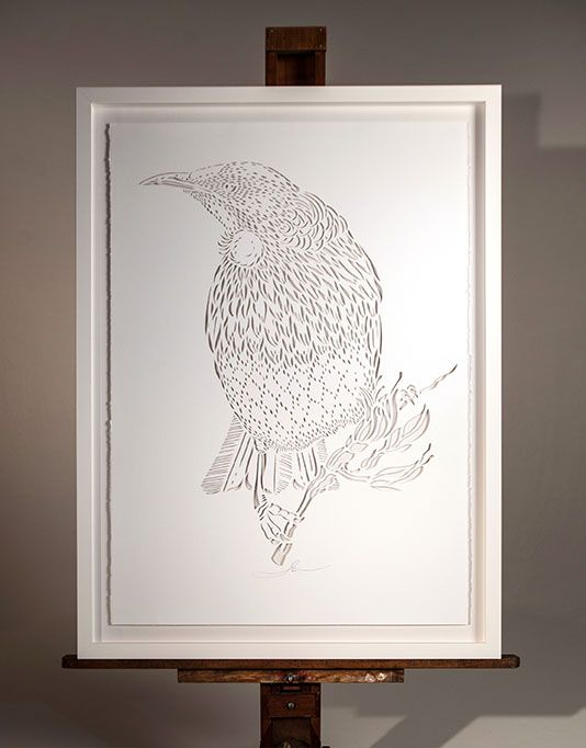 TUI KOWHAI IN THE CUT | Hand Cut: $1800 700mm x 1000mm Open Edition White Box…