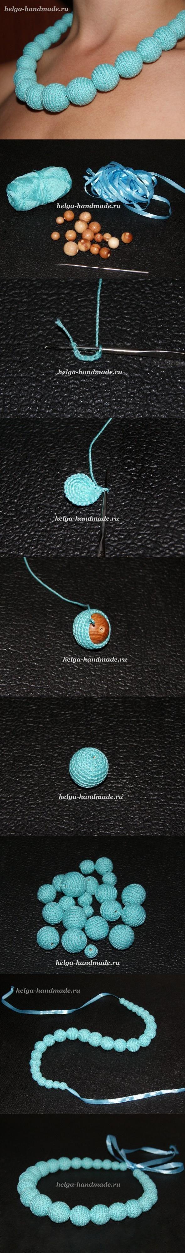 DIY Blue Knitting Beads Collar