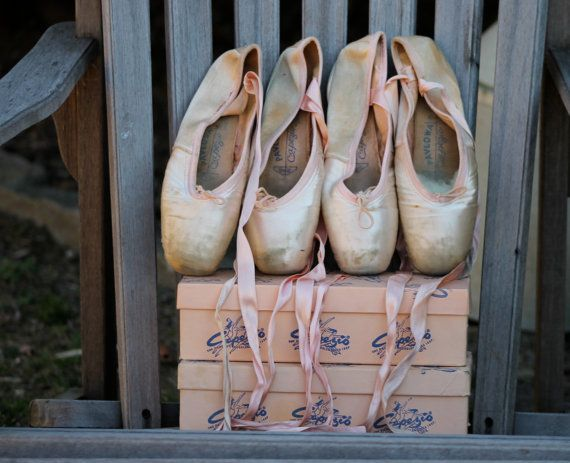Vintage Ballet Pointe Shoes Two Boxed Pairs by Antiqueish on Etsy