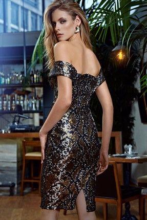 Milla by trendyol - Küçük Siyah Elbiseler - Piton Desenli Pul Payet İşli Elbise MLWAW155506 sadece 149,99TL ile Trendyol da