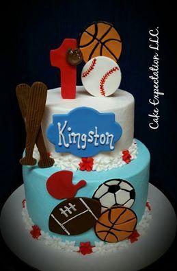 1st. Birthday for a boy sports cake