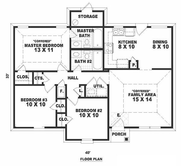 33x40w first floor plan of narrow lot ranch house plan for Narrow ranch house plans