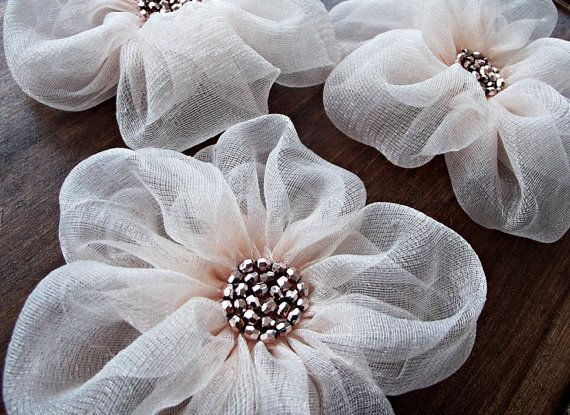 awesome Pale Pink Fabric Flowers Handmade Appliques by BizimSupplies...