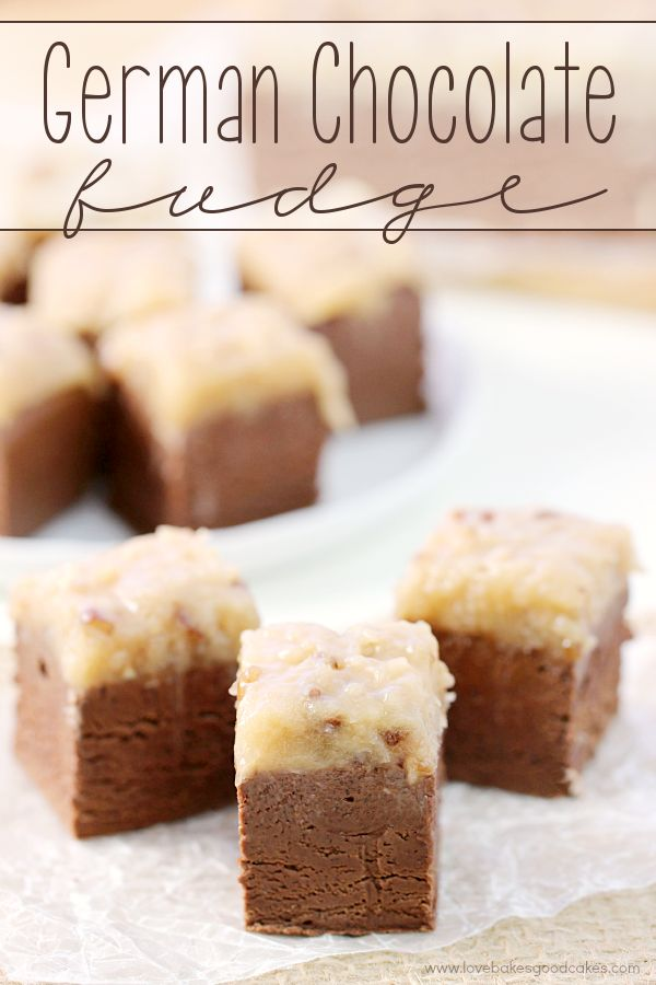 This German Chocolate Fudge will be the talk of the holidays! Thick chocolate fudge topped with a gooey coconut pecan icing!