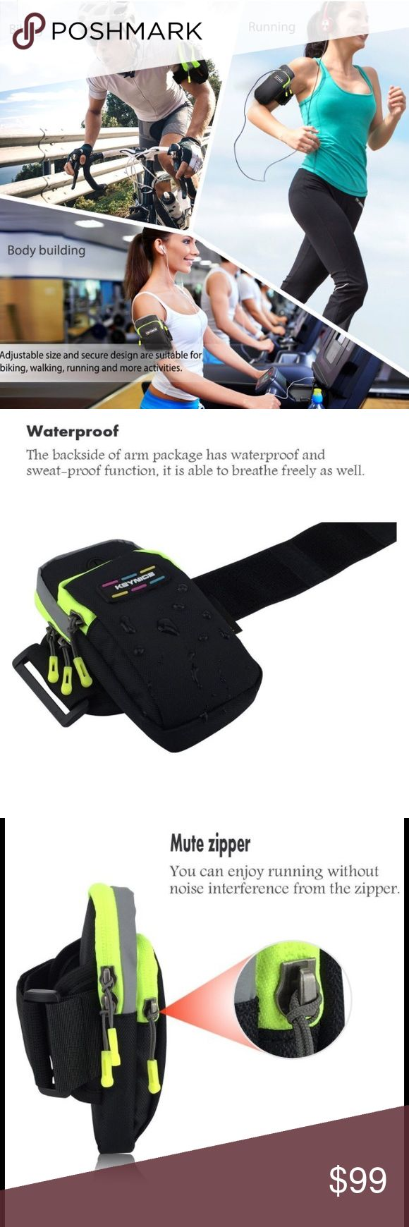 Sports Armband Double Pockets Waterproof Bag Phone • DOUBLE POCKETS -- Convenient for your cellphone, earphone, cable, charger, keys, ID cards, wallet, etc. Waterproof, durable to use & comfy to wear, perfect for sports and outdoor activities • HIGH QUALITY -- Concealed double zippers, fashionable, safe, sturdy, also suit for using earphones.  • FLEXIBLE -- Provide full protection to iPhone 5 6 7 Plus Samsung galaxy note 3 4 5 Nexus 5 Sony Xperia Z4 Z5 and all cellphones less than 5.8 inches…