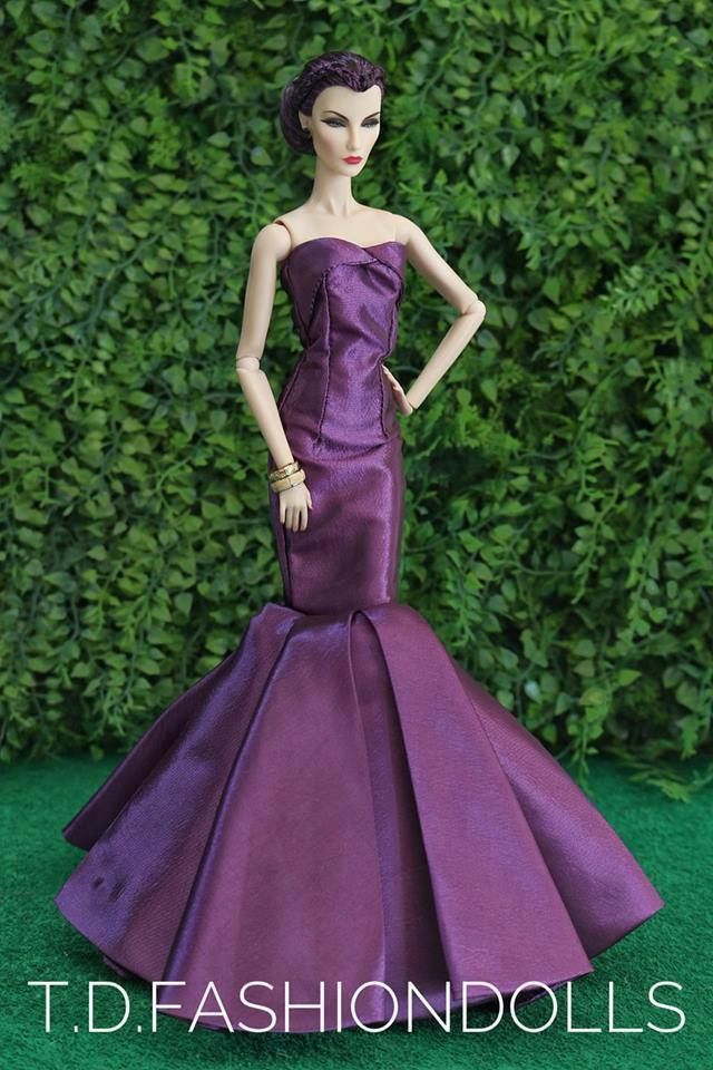 Purple Royalty Mermaid Dress Party Dress//Wedding Clothes//Gown For Doll