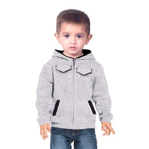 "Kid's ""Bershka"" Fleece 4 Pocket Fur Hoodie-Grey"