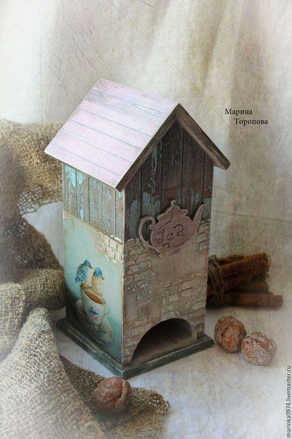 """Кухня ручной работы. Ярмарка Мастеров - ручная работа. Купить Чайный домик"""" Старое кафе, верные друзья"""". Handmade. Голубой"""