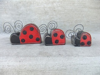 Lady Bug Family $8.00  Set of 3 - The spots are black glitter  @sawdustsanity