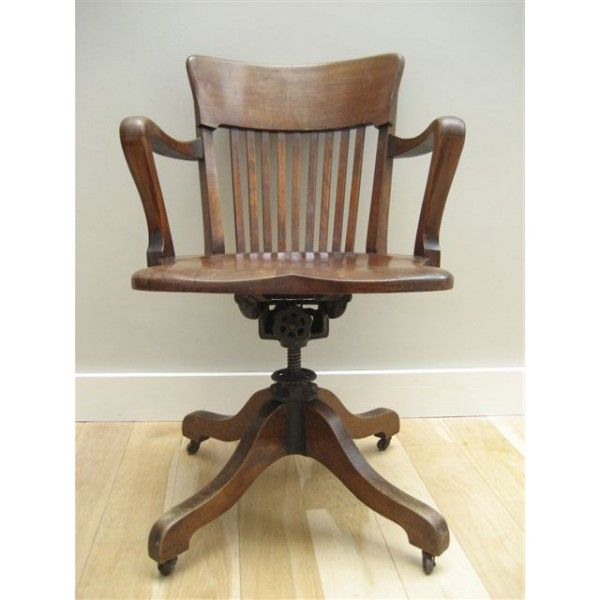 Oude houten industri le stoel met veermechanisme french chair feather spring mechanism study - Houten secretaris ...