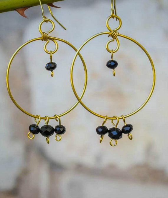 Brass Wire Earrings/ Swirl/ Wire Wrapped/Beaded Earrings/Handmade Jewelry/Greek Earrings/Black Glass Beads/Minimalist Jewelry/Gold/Statement
