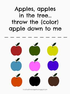 """School Time Snippets: """"Apples, Apples.."""" Color Chant & {Free Printable}"""