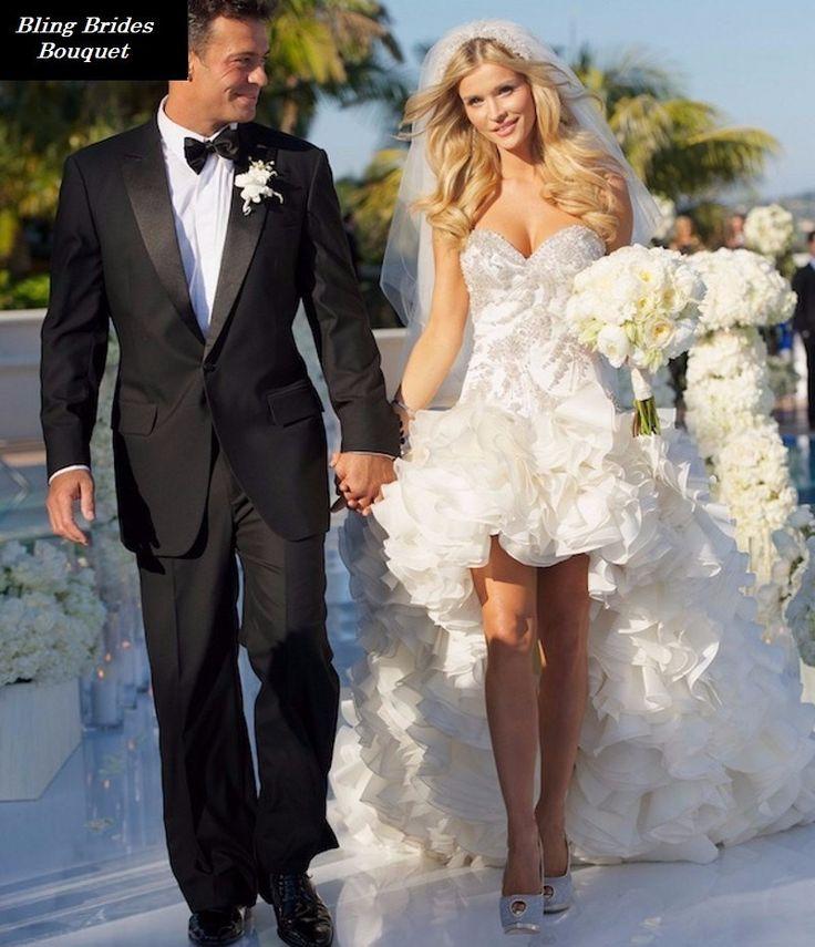 Bling Brides Elegant Sweetheart High Low Organza Short Wedding Dress Ruffled Sparkly Beaded Bridal Gowns