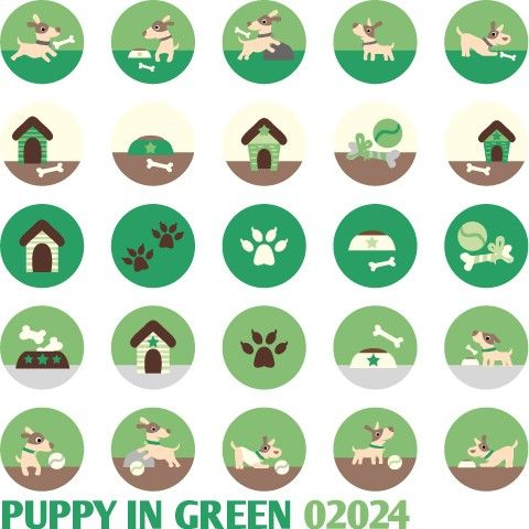 Puppy in Green 02024  Printable Circle 1313  by BlessedShop