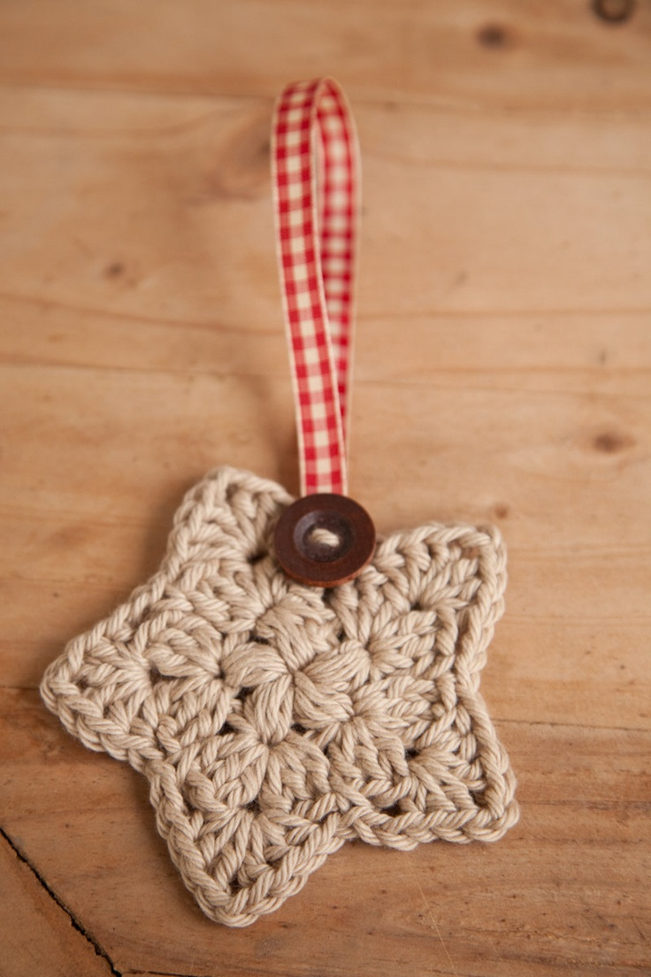 Crochet Christmas Star, Set of 3, Christmas Ornament, Holiday Decor, Decoration, Tan, Wood Button, Plaid Red Ribbon, MADE TO ORDER.