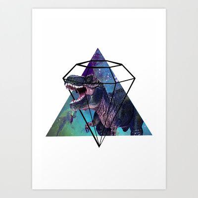 Dino in the sky Art Print by Riasiobhan - $16.00