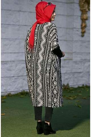 Nesrin Emniyetli Mevsimlik Yarasa Kollu Salaş Tunik 2160032 Beyaz - Siyah
