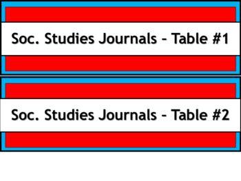 Student Journals Storage Labels -Subject - Narrow V2 - Dr. Seuss Tribute Colors