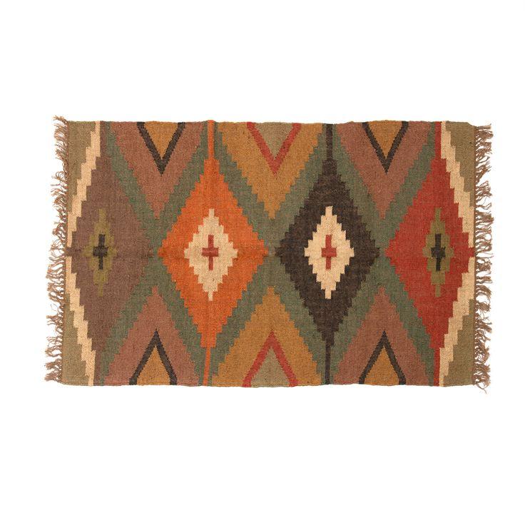hogar alfombra lana rombos 90x150 cm   natura