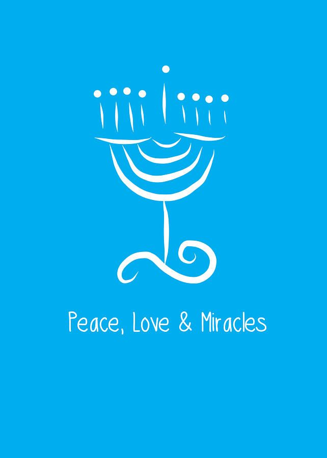 Peace Love And Miracles With Menorah Painting by @Linda