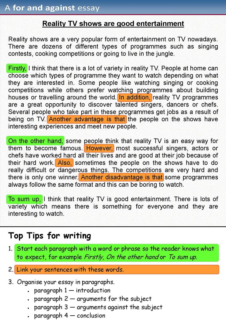 A for and against essay | LearnEnglishTeens