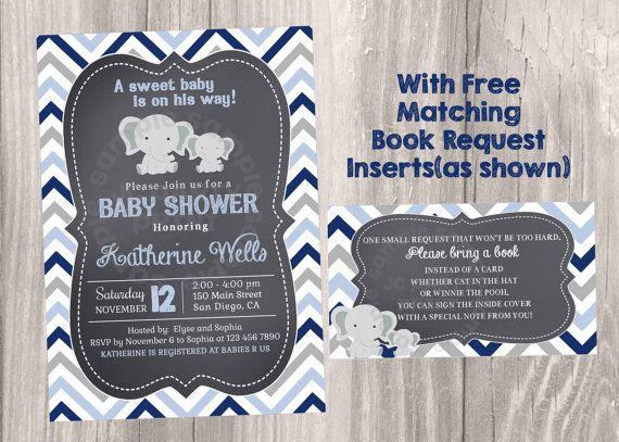 Elephant Baby Shower Chalkboard Invitation, Little Peanut Chevron invitations, Elephants Baby Boy Shower. Grey and Navy Invites.