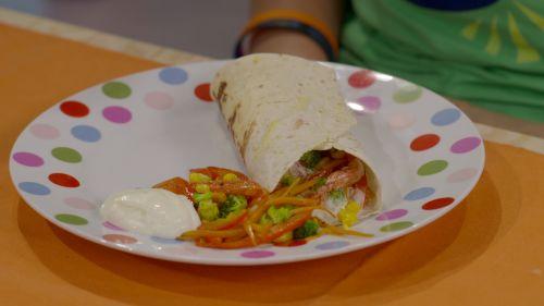 Wrap met groenten en zure room