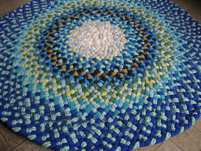 made to ordercustom round braided rug in blues from recycled cotton