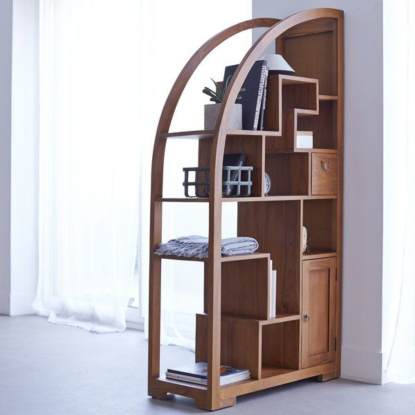 Crafted From Solid Teak Wood, This Bookcase Is A Statement Addition To Your  Living Room