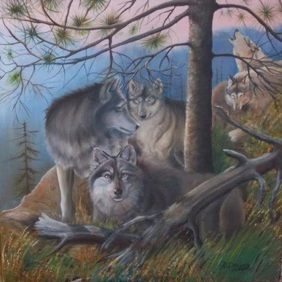 15x15 wolves oil painting rosemary daunis art by rosemarydaunisart