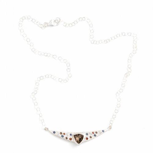 Trillion Necklace Silver Smokey Quartz