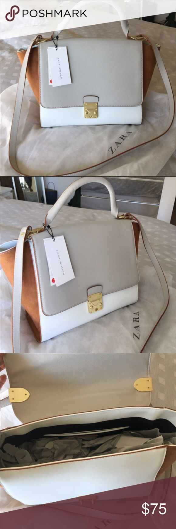 NWT gorgeous Zara purse NWT beautiful Zara purse 2 colors with gold accent. Can be worn as shoulder bag, cross body or hands. Zara Bags Crossbody Bags