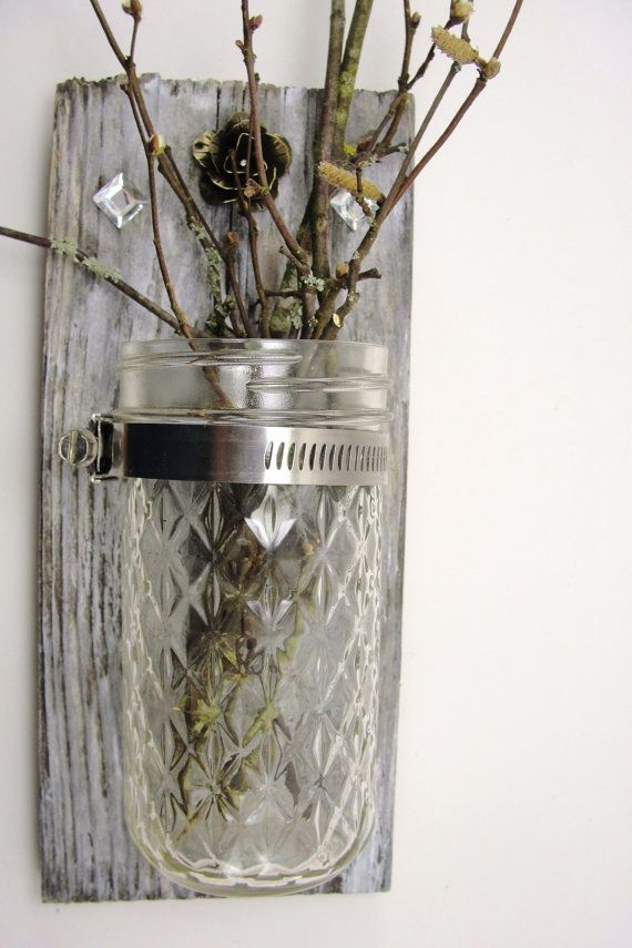 RESERVED for KRISTIN.upcycled wood wall hanging,  mason jar candle, vase, metal flower, rustic, shabby chic