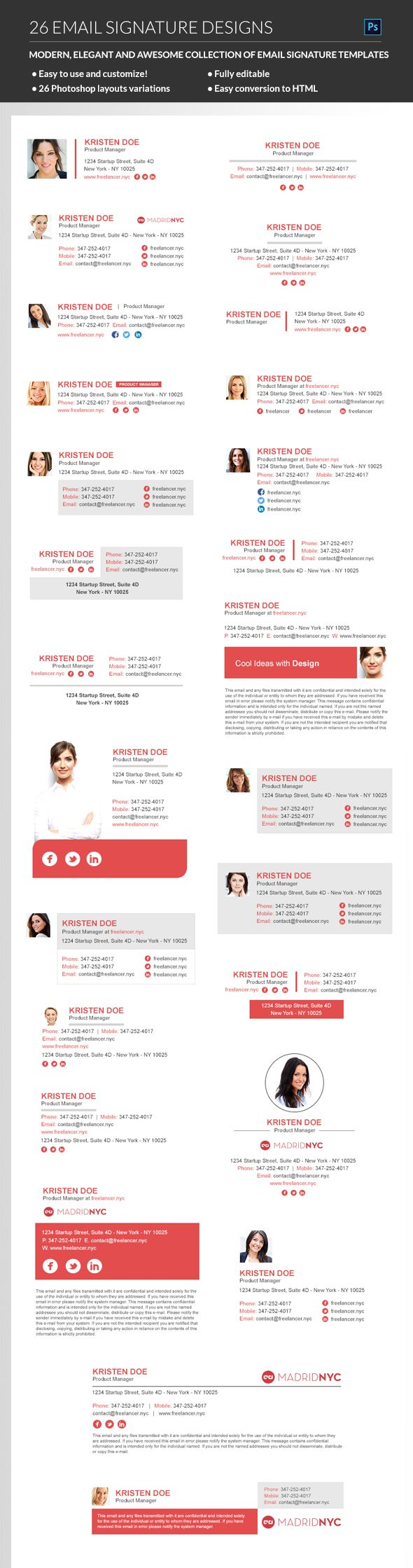 Give an identity to your e-mail with this signature #design #email #template