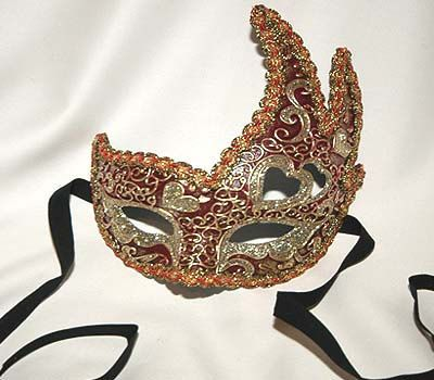 Traditional and original papier-mache Venetian mask, handmade and decorated with acrylics colors, gold-leaf and glitters and trimming.    All