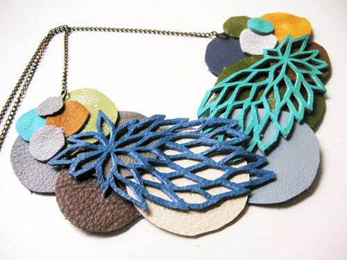 hand made colorful geometric leather jewelry from recycled leather with a bit of a tribal feel.
